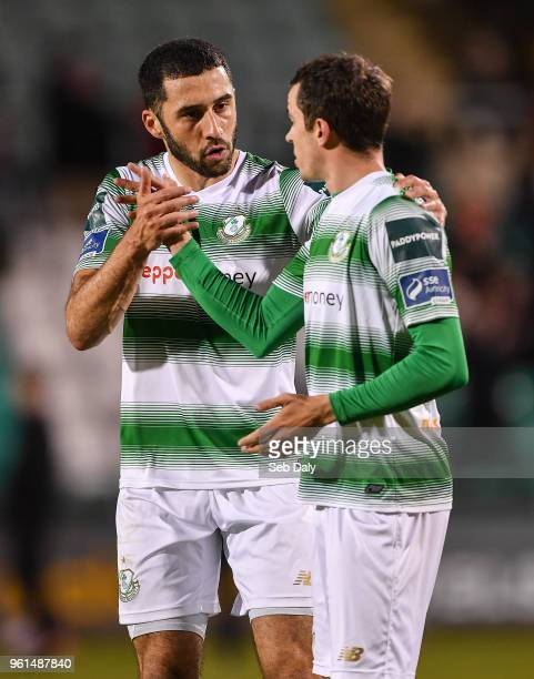 Dublin Ireland 22 May 2018 Roberto Lopes left and Sean Kavanagh of Shamrock Rovers congratulate each other following thir side's victory during the...