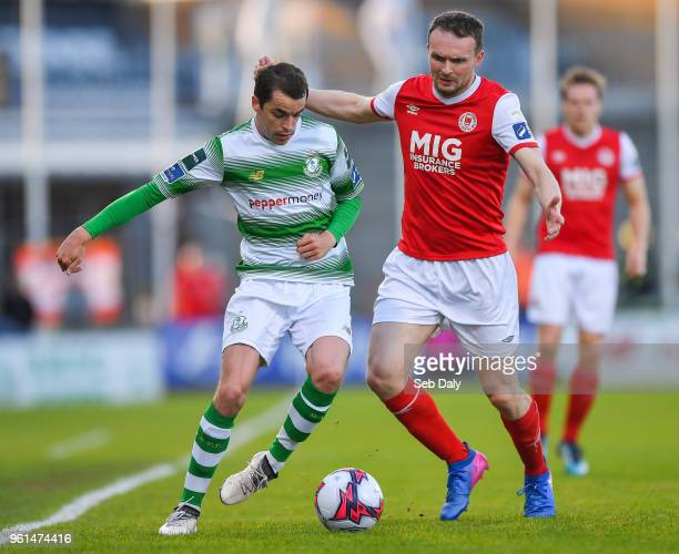 Dublin Ireland 22 May 2018 Sean Kavanagh of Shamrock Rovers in action against Conan Byrne of St Patrick's Athletic during the SSE Airtricity League...