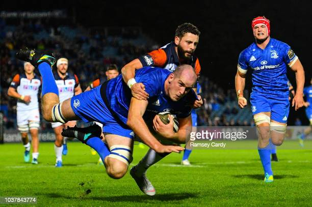 Dublin , Ireland - 22 September 2018; Devin Toner of Leinster is tackled short of the try line by Sean Kennedy of Edinburgh during the Guinness PRO14...