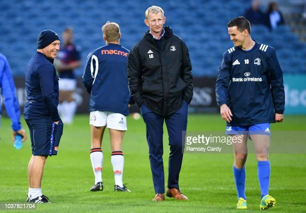 Dublin Ireland 22 September 2018 Edinburgh head coach Richard Cockerill shares a joke with Leinster head coach Leo Cullen and Jonathan Sexton ahead...