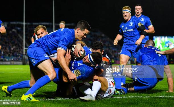 Dublin Ireland 22 September 2018 Fergus McFadden of Leinster dives over to score his side's first try with the help of Jonathan Sexton during the...