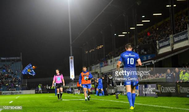 Dublin Ireland 22 September 2018 Jonathan Sexton of Leinster after scoring his side's fourth try during the Guinness PRO14 Round 4 match between...
