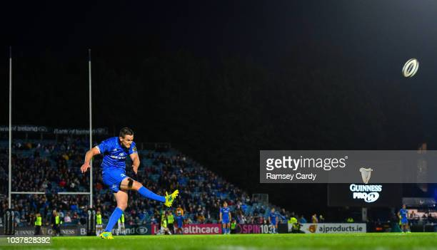 Dublin Ireland 22 September 2018 Jonathan Sexton of Leinster kicks a conversion during the Guinness PRO14 Round 4 match between Leinster and...