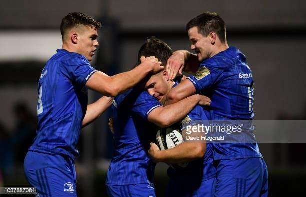 Dublin Ireland 22 September 2018 Jordan Larmour of Leinster celebrates with team mates Jonathan Sexton right Garry Ringrose left and Luke McGrath...