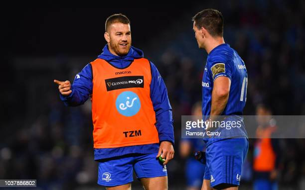 Dublin Ireland 22 September 2018 Seán O'Brien left and Jonathan Sexton of Leinster during the Guinness PRO14 Round 4 match between Leinster and...