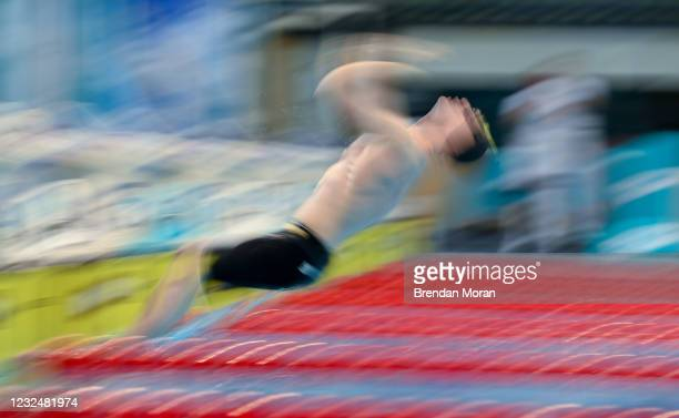 Dublin , Ireland - 23 April 2021; Conor Ferguson of Larne SC competes in the 200 metre backstroke on day four of the Irish National Swimming Team...