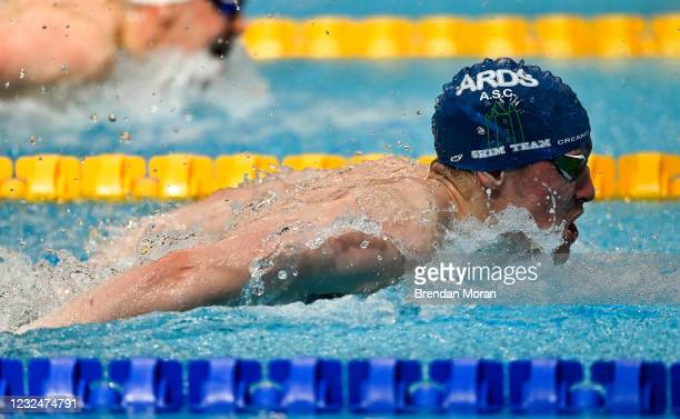 Dublin , Ireland - 23 April 2021; Paddy Johnston of Ards SC competes in the 100 metre butterfly on day four of the Irish National Swimming Team...