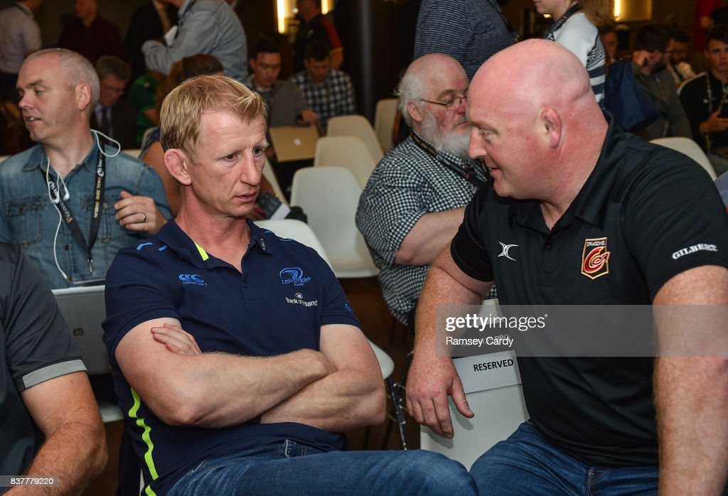 Dublin , Ireland - 23 August 2017; Leinster head coach Leo Cullen, left, and Dragons head coach Bernard Jackman at the Guinness PRO14 season launch at the Aviva Stadium in Dublin.