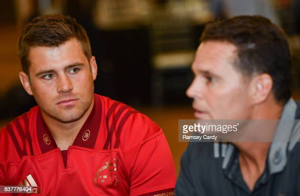 Dublin Ireland 23 August 2017 Munster director of rugby Rassie Erasmus and CJ Stander at the Guinness PRO14 season launch at the Aviva Stadium in...