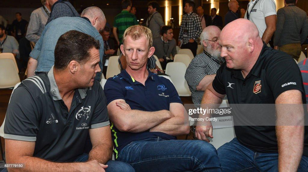 Dublin , Ireland - 23 August 2017; Munster Director of Rugby Rassie Erasmus, left, Leinster head coach Leo Cullen, centre, and Dragons head coach Bernard Jackman at the Guinness PRO14 season launch at the Aviva Stadium in Dublin.