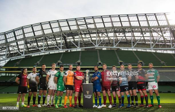 Dublin Ireland 23 August 2017 PRO14 players from left CJ Velleman of Southern Kings Tommaso Castello of Zebre Ryan Wilson of Glasgow Warriors Iain...