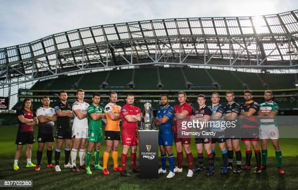 Dublin Ireland 23 August 2017 PRO14 players from left CJ Velleman of Southern Kings Tommaso Castello of Zebre Ryan Wilson of Glasgow Warriors Iain...