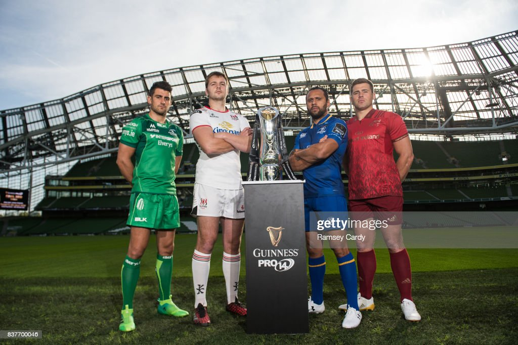 Dublin , Ireland - 23 August 2017; PRO14 players, from left, Tiernan O'Halloran of Connacht, Iain Henderson of Ulster, Isa Nacewa of Leinster and CJ Stander of Munster, at the Guinness PRO14 season launch at the Aviva Stadium in Dublin.
