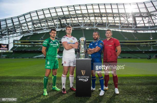 Dublin Ireland 23 August 2017 PRO14 players from left Tiernan O'Halloran of Connacht Iain Henderson of Ulster Isa Nacewa of Leinster and CJ Stander...
