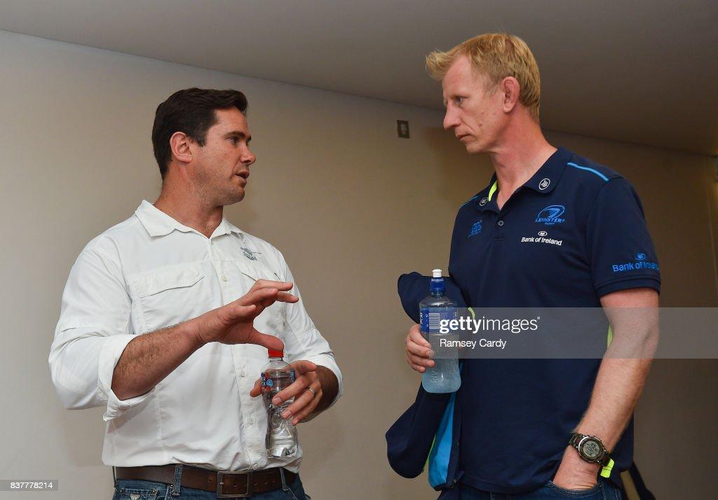 Dublin , Ireland - 23 August 2017; Toyota Cheetahs head coach Rory Duncan, left, in conversation with Leinster head coach Leo Cullen at the Guinness PRO14 season launch at the Aviva Stadium in Dublin.