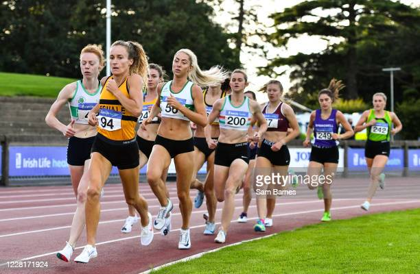 Dublin , Ireland - 23 August 2020; Michelle Finn of Leevale AC, Cork, leads the field whilst competing in the Women's 1500m during Day Two of the...