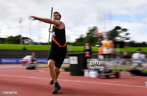 Dublin , Ireland - 23 August 2020; Rory Gunning of Clonliffe Harriers AC, Dublin, on his way to finishing third in the Men's Javelin during Day Two...