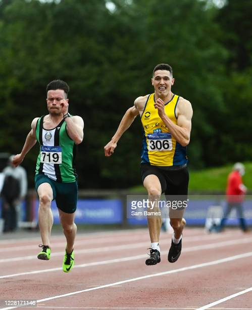 Dublin , Ireland - 23 August 2020; Stephen Gaffney of UCD AC, Dublin, right, on his way to winning the Men's 100m, ahead of Dean Adams of Ballymena...