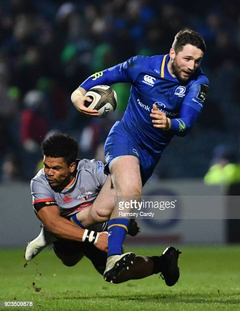 Dublin Ireland 23 February 2018 Barry Daly of Leinster is tackled by Berton Klaasen of Southern Kings during the Guinness PRO14 Round 16 match...