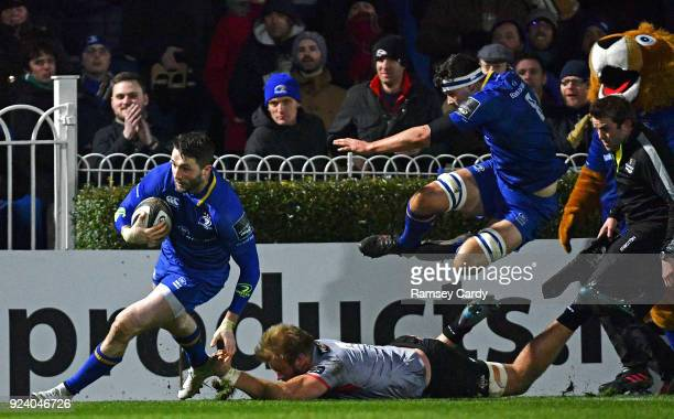 Dublin Ireland 23 February 2018 Barry Daly of Leinster runs in his side's third try during the Guinness PRO14 Round 16 match between Leinster and...