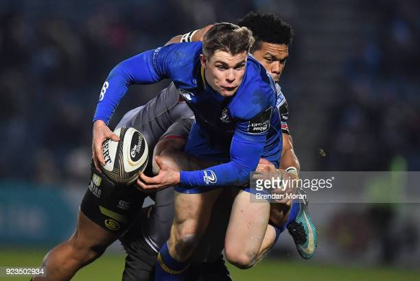 Dublin Ireland 23 February 2018 Garry Ringrose of Leinster is tackled by Eital Bredenkamp and Berton Klaasen of Southern Kings during the Guinness...