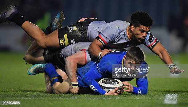 Dublin Ireland 23 February 2018 Garry Ringrose of Leinster is tackled by Eital Bredenkamp and Berton Klaasen top of Southern Kings during the...
