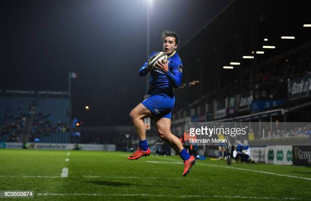 Dublin Ireland 23 February 2018 James Lowe of Leinster catches a crossfield kick from Ciarán Frawley to score his side's eighth try during the...