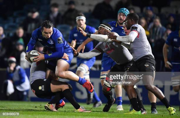 Dublin Ireland 23 February 2018 James Lowe of Leinster is tackled by Martin Du Toit of Southern Kings during the Guinness PRO14 Round 16 match...