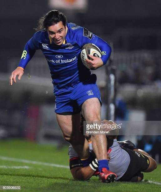 Dublin Ireland 23 February 2018 James Lowe of Leinster is tackled by Berton Klaasen of Southern Kings during the Guinness PRO14 Round 16 match...