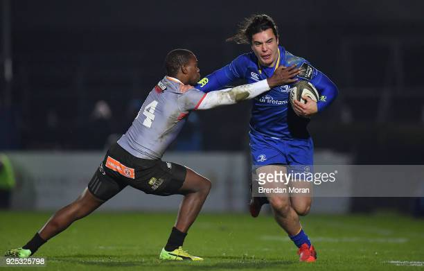 Dublin Ireland 23 February 2018 James Lowe of Leinster is tackled by Michael Makase of Southern Kings during the Guinness PRO14 Round 16 match...