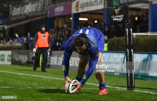 Dublin Ireland 23 February 2018 James Lowe of Leinster scores his side's eighth try during the Guinness PRO14 Round 16 match between Leinster and...
