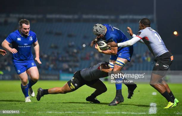 Dublin Ireland 23 February 2018 Mick Kearney of Leinster is tackled by Berton Klaasen and Michael Makase of Southern Kings during the Guinness PRO14...