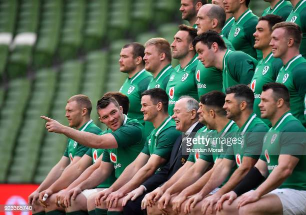 Dublin Ireland 23 February 2018 Peter O'Mahony tells his teammates where to look during the Ireland Rugby captain's run at the Aviva Stadium in Dublin