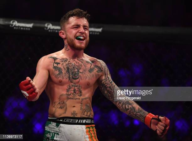 Dublin , Ireland - 23 February 2019; James Gallagher celebrates following his Bantamweight bout with Steven Graham during Bellator 217 at the 3 Arena...
