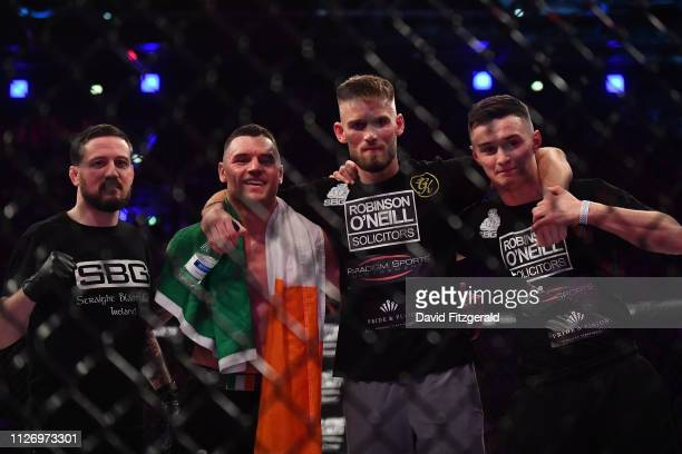 Dublin , Ireland - 23 February 2019; Kiefer Crosbie celebrates with his corner following his Welterweight bout with Daniel Olejniczak during Bellator...