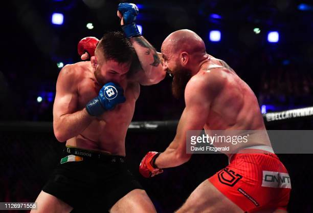 Dublin , Ireland - 23 February 2019; Peter Queally, right, in action against Myles Price in their Lightweight bout during Bellator 217 at the 3 Arena...