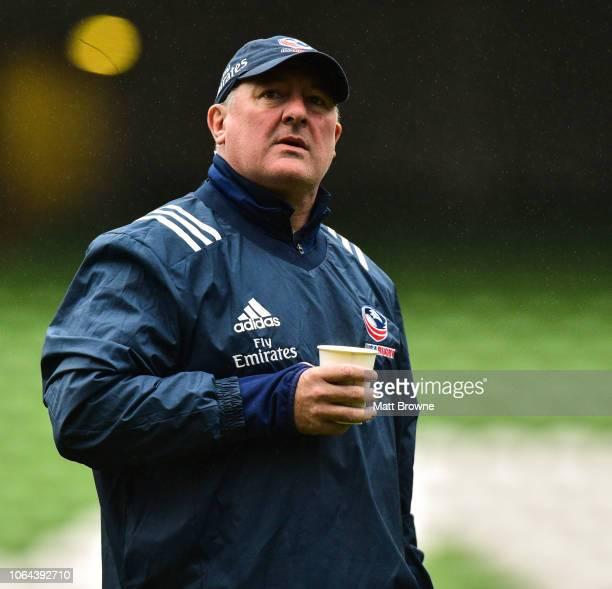 Dublin Ireland 23 November 2018 Head coach Gary Gold during the USA Rugby Captain's Run at the Aviva Stadium in Dublin