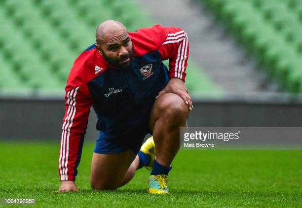 Dublin Ireland 23 November 2018 Paul Lasike during the USA Rugby Captain's Run at the Aviva Stadium in Dublin