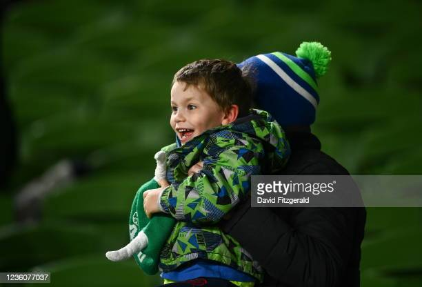 Dublin , Ireland - 23 October 2021; A young Connacht supporter reacts to his side's third try during the United Rugby Championship match between...