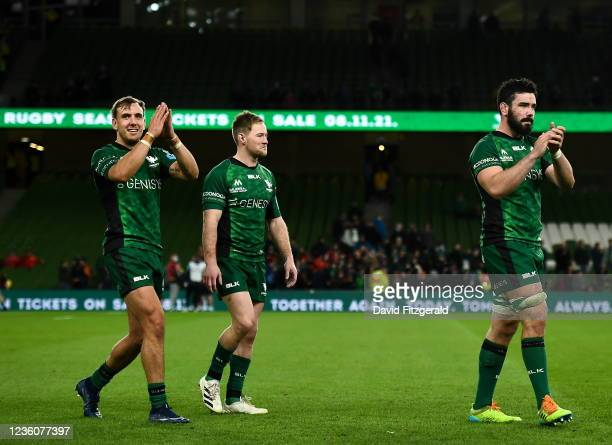 Dublin , Ireland - 23 October 2021; Connacht players, from left, John Porch, Kieran Marmion and Paul Boyle after the United Rugby Championship match...