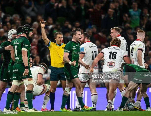 Dublin , Ireland - 23 October 2021; Jack Carty of Connacht celebrates a turnover during the United Rugby Championship match between Connacht and...