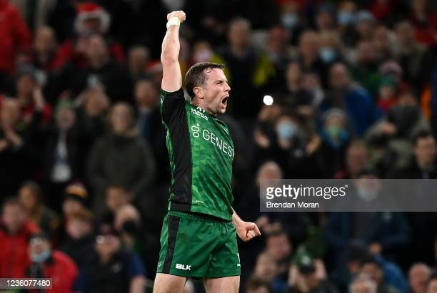 Dublin , Ireland - 23 October 2021; Jack Carty of Connacht celebrates at the final whistle of the United Rugby Championship match between Connacht...