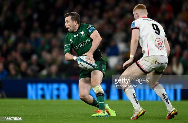 Dublin , Ireland - 23 October 2021; Jack Carty of Connacht in action against Nathan Doak of Ulster during the United Rugby Championship match between...