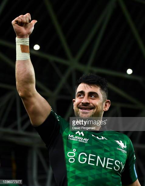 Dublin , Ireland - 23 October 2021; Tiernan OHalloran of Connacht celebrates after the United Rugby Championship match between Connacht and Ulster at...