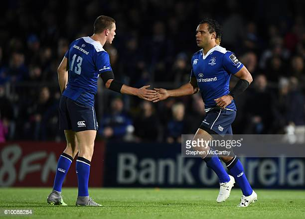 Dublin , Ireland - 23 September 2016; Isa Nacewa, right, and Garry Ringrose of Leinster during the Guinness PRO12 Round 4 match between Leinster and...