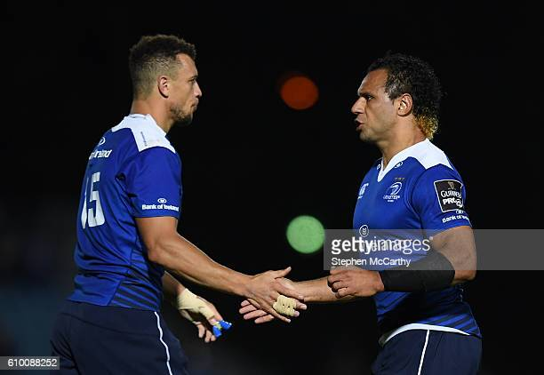 Dublin , Ireland - 23 September 2016; Isa Nacewa, right, and Zane Kirchner of Leinster during the Guinness PRO12 Round 4 match between Leinster and...