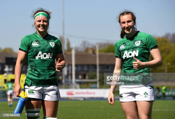Dublin , Ireland - 24 April 2021; Brittany Hogan, left, and Eve Higgins of Ireland after the Women's Six Nations Rugby Championship Play-off match...