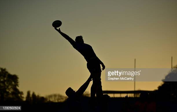 Dublin , Ireland - 24 April 2021; Ryan Baird of Leinster takes possession in the lineout during the Guinness PRO14 Rainbow Cup match between Leinster...
