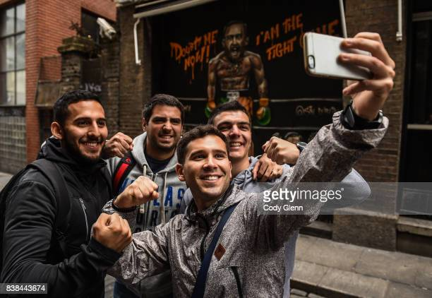 Dublin Ireland 24 August 2017 Tourists from Argentina from left Fabricio Olguin Francisco Muñoz Lucas Martinez and Emiliano Morsucci take a group...