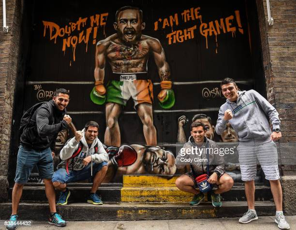 Dublin Ireland 24 August 2017 Tourists from Argentina from left Fabricio Olguin Francisco Muñoz Lucas Martinez and Emiliano Morsucci pictured in...